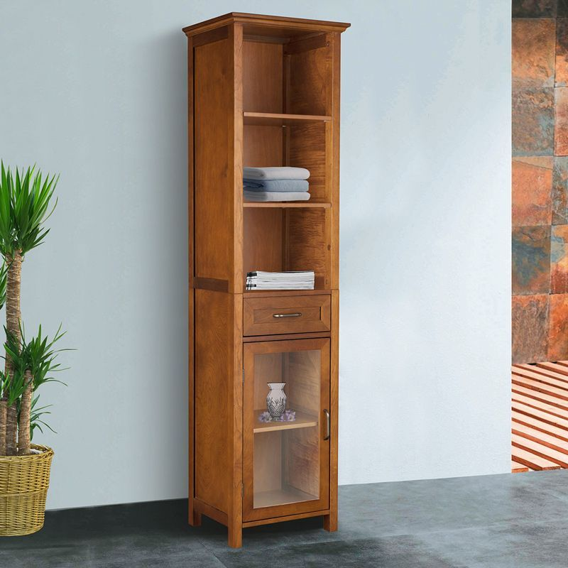 Chamberlain Oak-Finish Linen Tower Storage Cabinet by Elegant Home ...