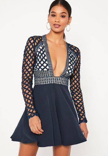 Blue Lace Plunge Long Sleeve Skater Dress Missguided