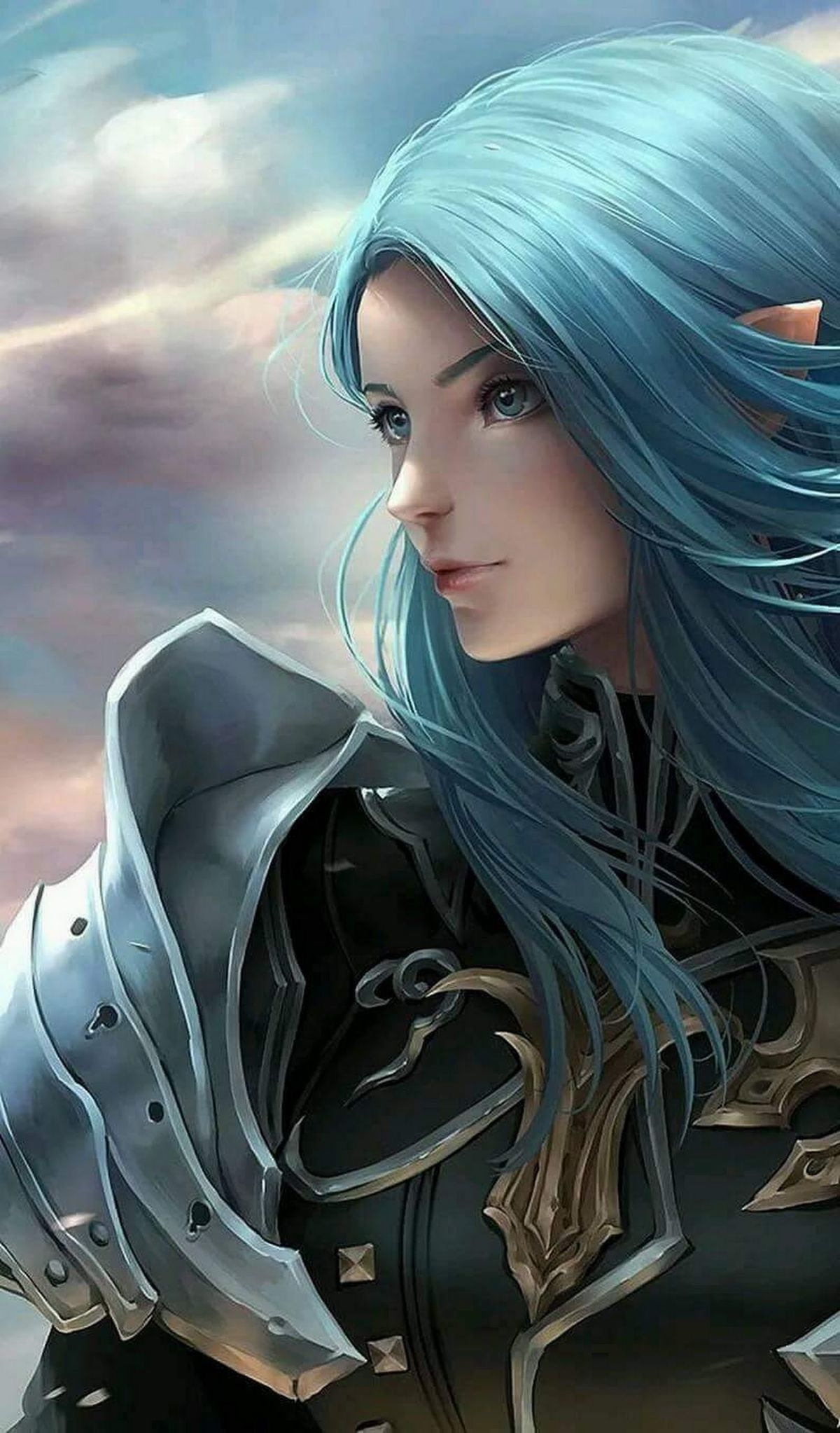 Female Elf With Blue Eyes And Hair As Well As Wearing A Suit Of Armor As Well As Shoulder Armor Warrior Girl Female Elf Art Girl