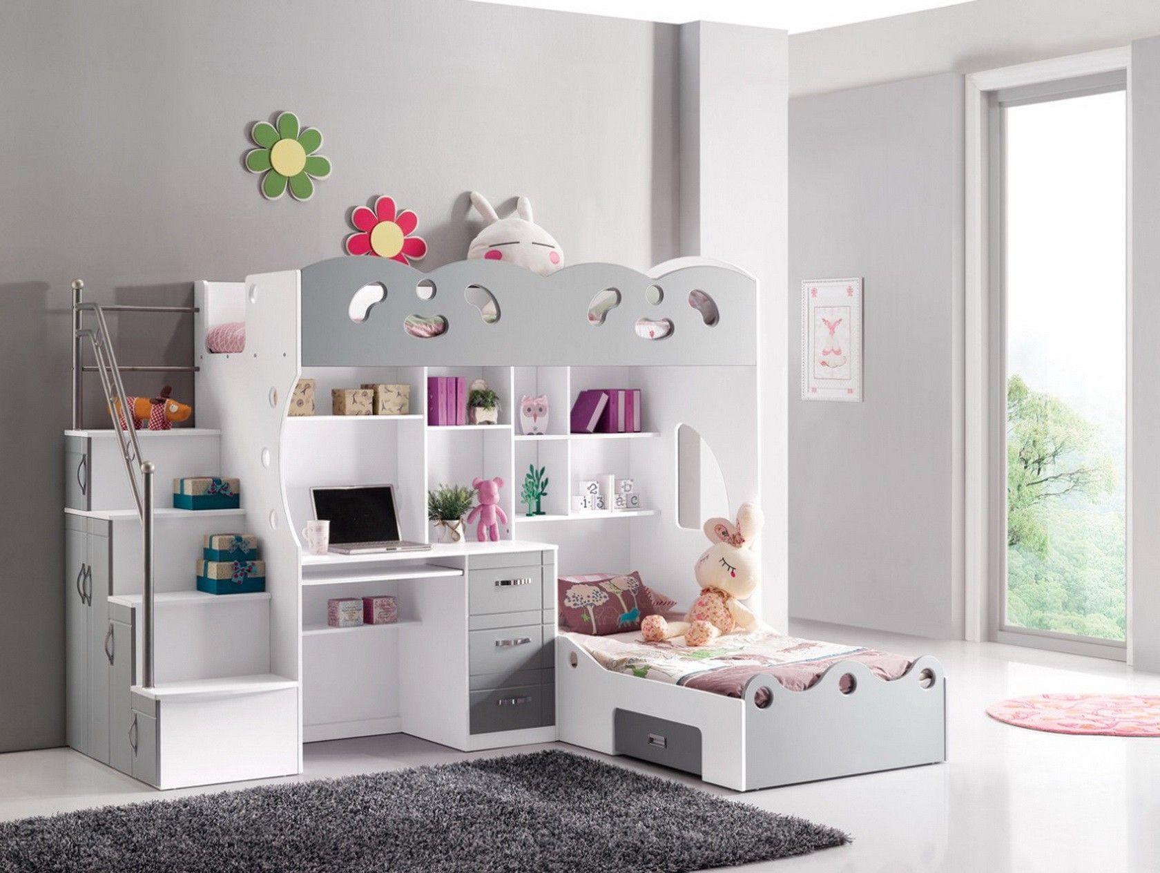 Lit combin 2 couchages gris et blanc kids 39 bedroom - Lit combine pas cher ...