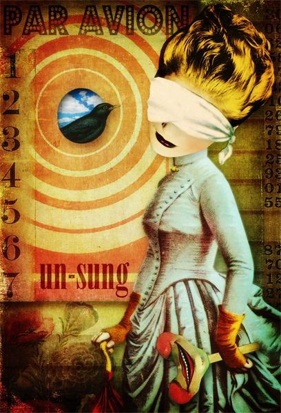 Un-Sung  copyright by Marsha Jorgensen 2012. All rights reserved.    Digital collage. Image credits: most everything from Tumble Fish Studio kits at deviantscrap.com.