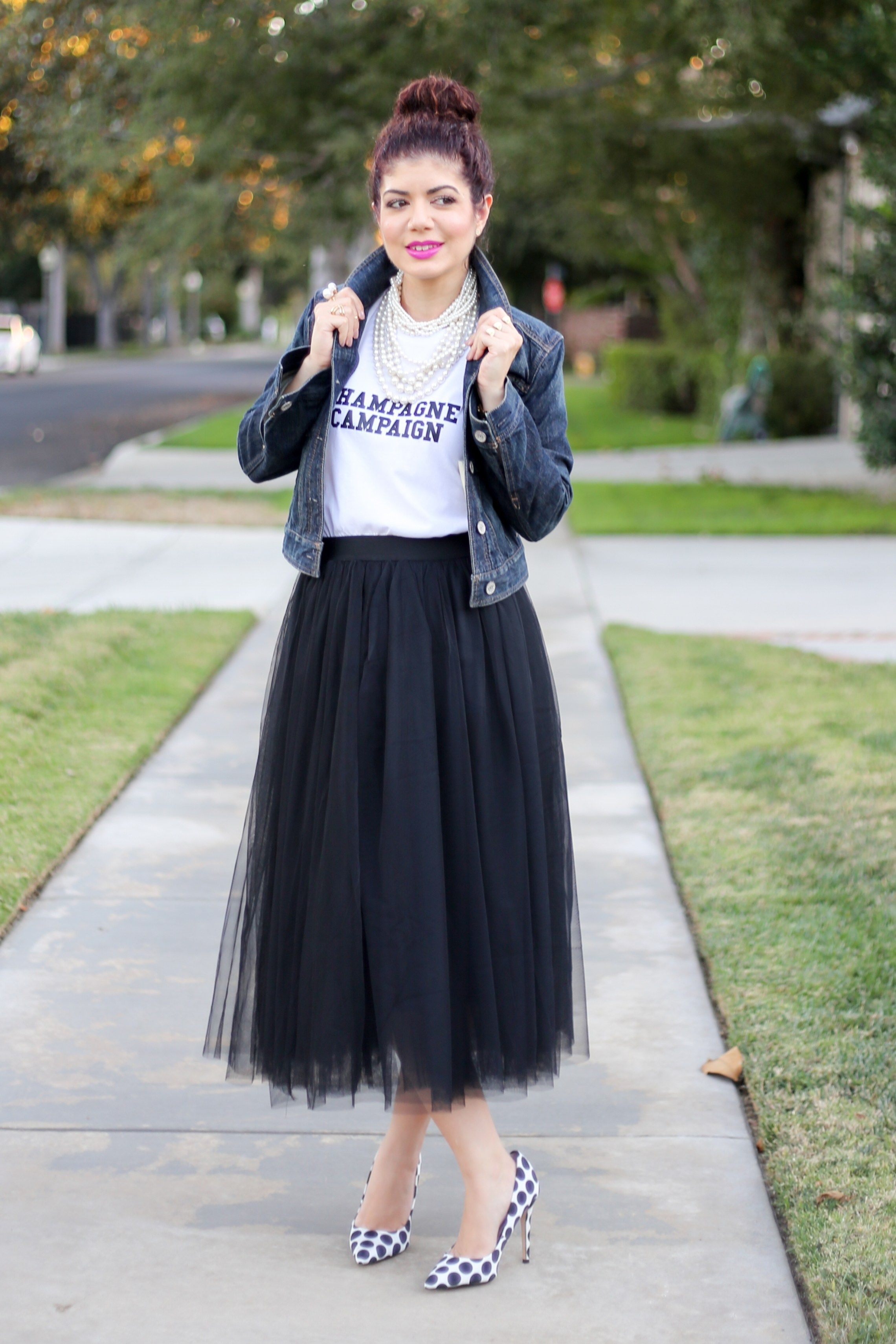7f9f031b95 Tulle skirt   tulle skirt outfit   how to wear a tulle skirt   black tulle    denim jacket  graphic tee  polka dot pumps   feminine outfit   fashion    style ...