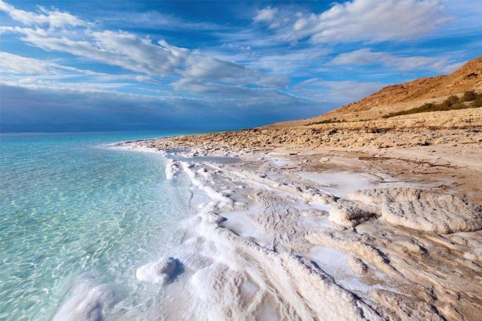 The Dead Sea, on the border of Jordan and Israel, is one of the saltiest bodies of water in the world. So salty that you can famously float in it, and that no macroscopic organisms can survive in it.