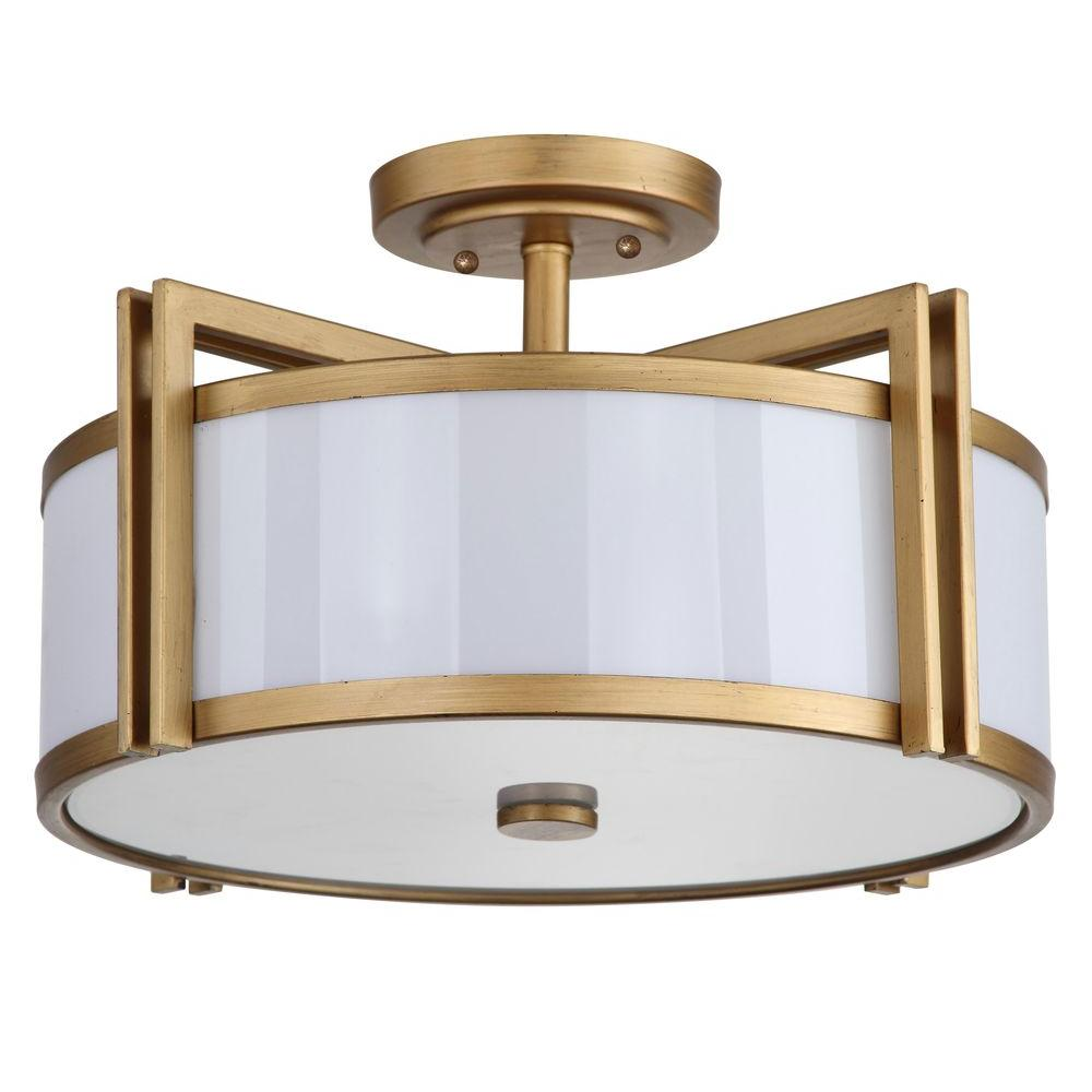 Safavieh Orb 3 Light Antique Gold Semi Flush Mount Light Lit4186a The Home Depot Gold Ceiling Light Modern Flush Mount Lighting Semi Flush Mount Lighting