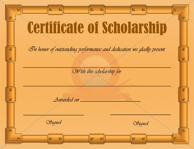 Scholarship Certificate Template  Scholarship Certificate Templates