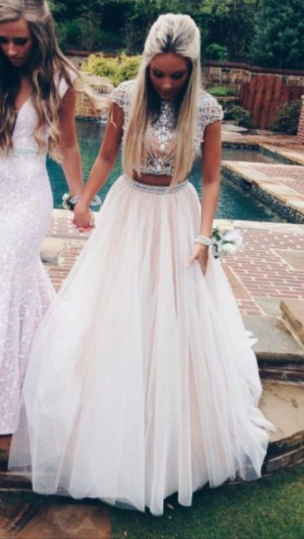 White 2 Piece Long Prom Dresses