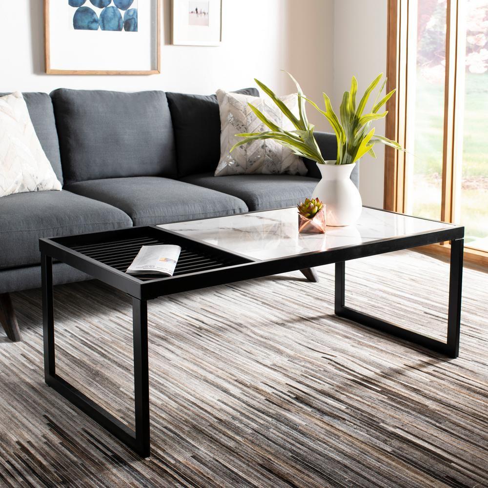 Safavieh Zuri White Marble Black Coffee Table Mid Century Coffee Table Black Coffee Tables Furniture