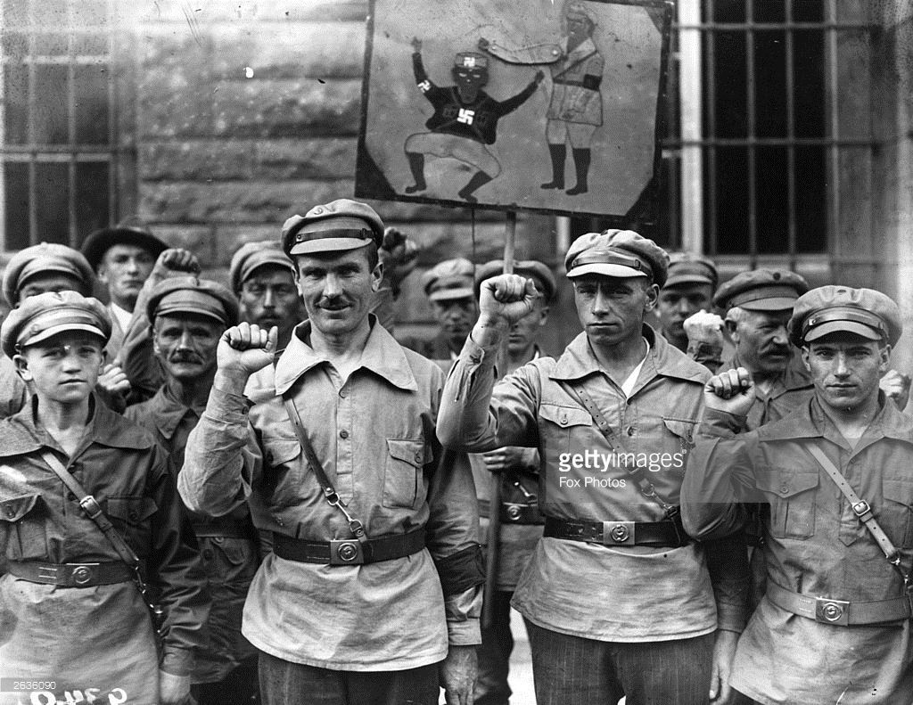 German Anti Fascists Give The Clenched Fist Salute