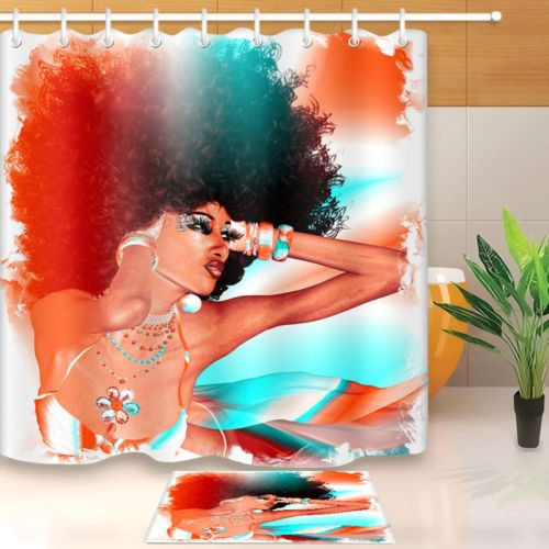 Afro African American Woman Shower Curtain Set Polyester Bathroom