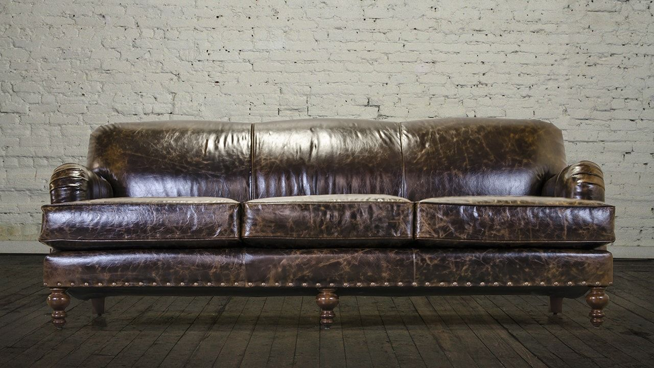 English Arm Tight Back Leather Sofa