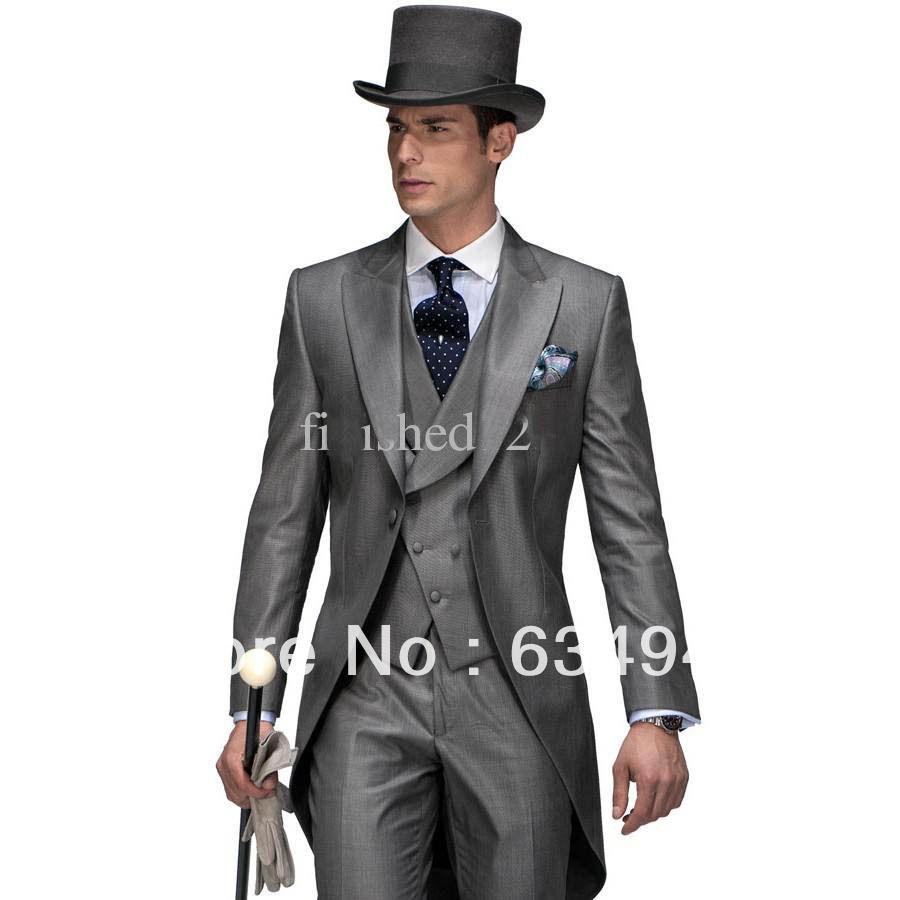 New design morning style peak lapel groom tuxedos groomsmen dress