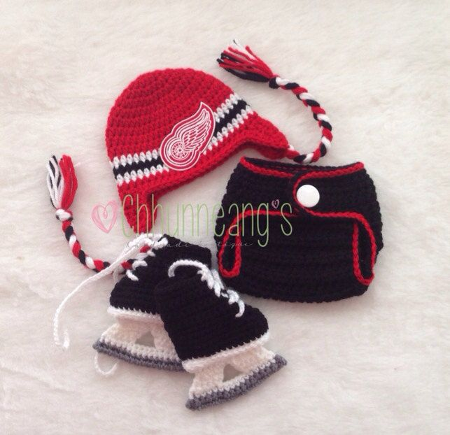 99826f632 Baby Crochet Hockey Earflap Hat in Detroit Redwings inspired, Made ...