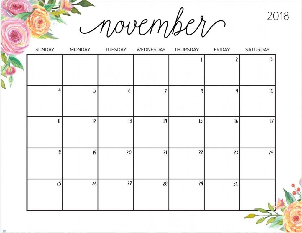 Printable November 2018 Floral Frame Calendar August Calendar