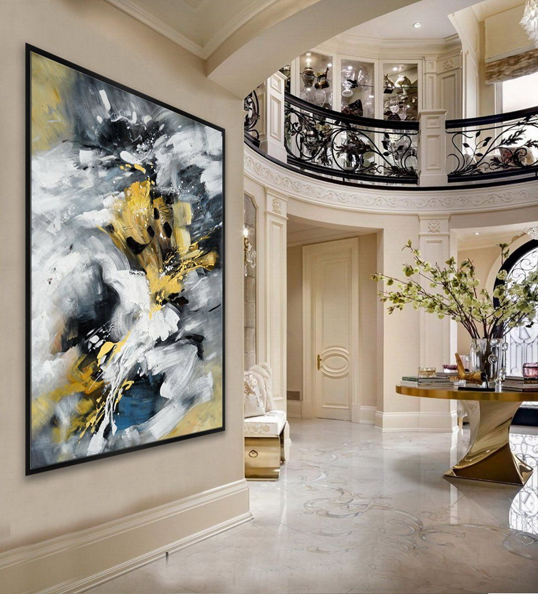 Colorful modern contemporary artwork extra large vertical