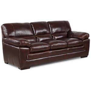 Simon Li Biscayne Texas Black Oak Leather Sofa Living Room