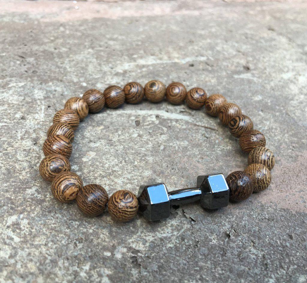 Wood fitness dumbbell gym bracelet menwomen motivation