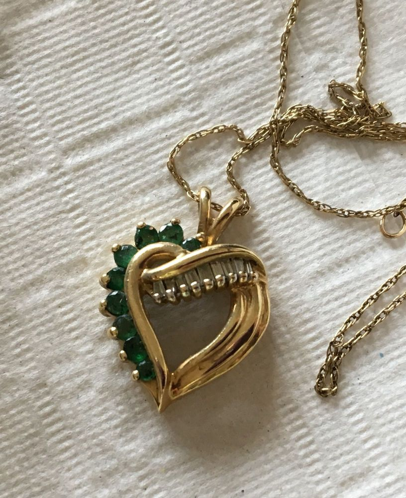 Vip Signed 10k Gold Heart Pendant Emerald Diamond Baguettes Chain 2 1grams Heart Pendant Gold Heart Pendant Baguette Diamond
