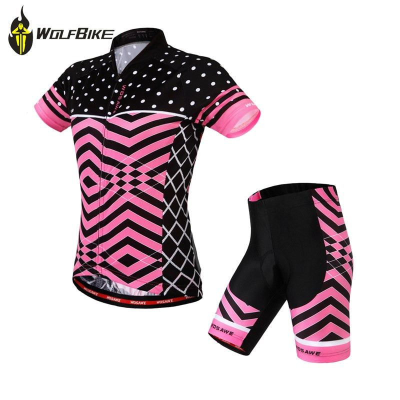 Wosawe Women Summer Cycling Sets Gel Pad Shorts+Tops Cycling Suit Ciclismo  Bike Bicycle MTB Short Jersey for Cycling 9f0bdd969