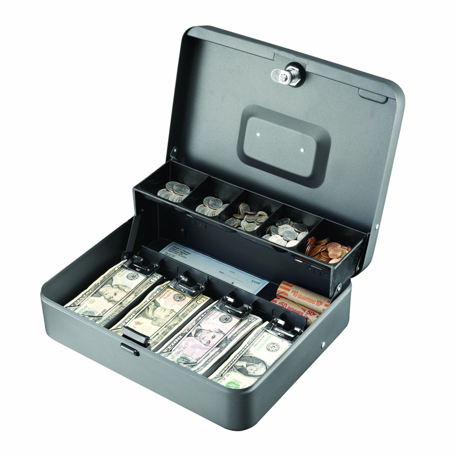 Cash Box. Five compartment cantilever tray opens automatically when cash box opens. Security slot for using a computer cable lock provided; keyed lock comes with 2 keys.  http://www.farmersmarketonline.com/marketsupply.htm