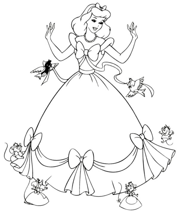 Cinderella Helped By Her Friends In Cinderella Coloring Page Download Prin Disney Princess Coloring Pages Cinderella Coloring Pages Princess Coloring Pages