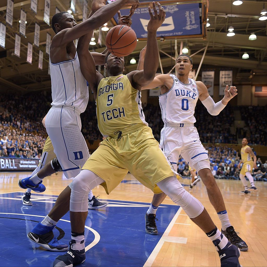 Harry Giles of the Duke Blue Devils and Josh Okogie of the