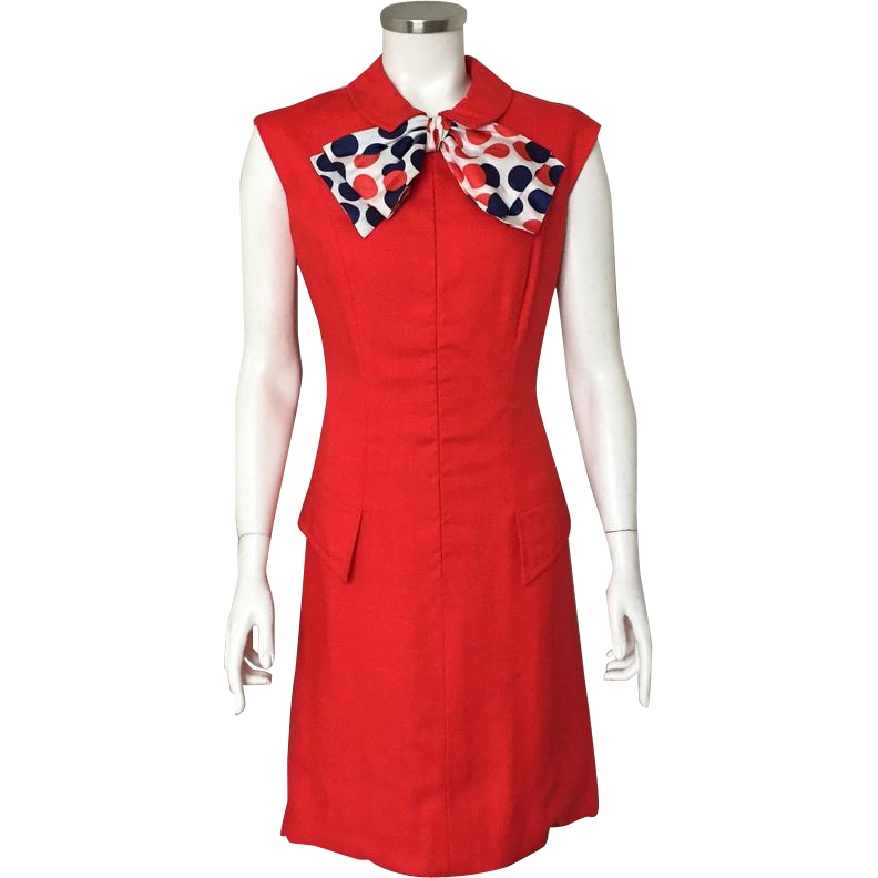 d966e1c5bb4c Vintage 1960s Red Linen Weave Summer Sheath Dress by Adele Simpson with Red  White and Blue Polka Dot Scarf M at The Vintage Merchant on Ruby Lane
