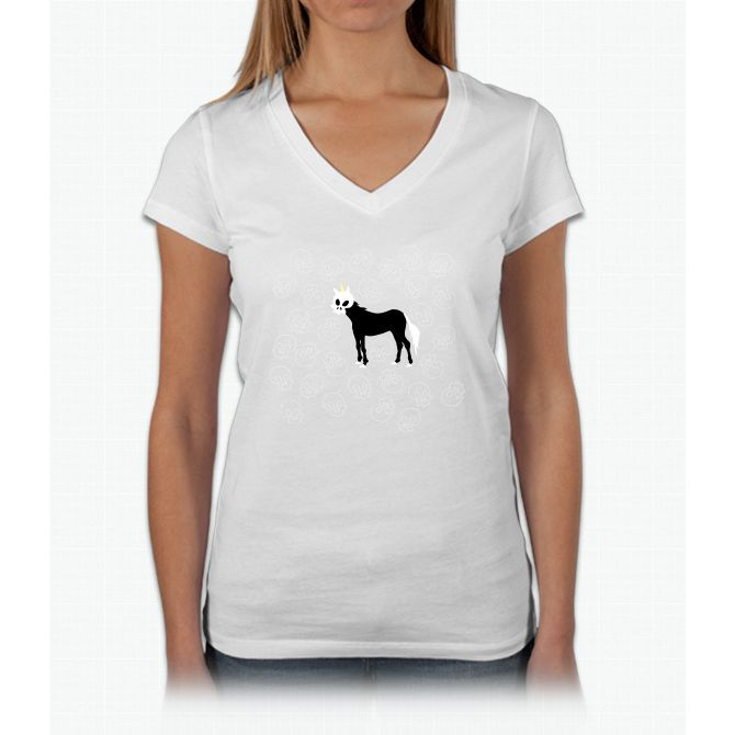 Skullhead Unicorn Womens V-Neck T-Shirt
