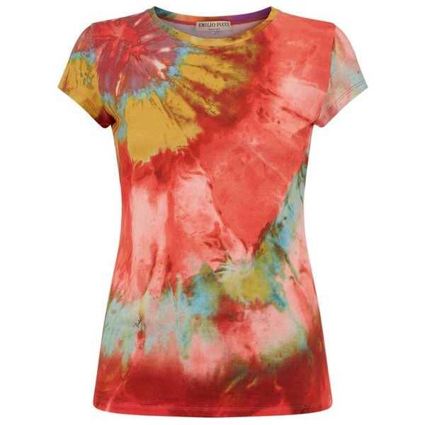 Emilio Pucci Tie Dye Round Neck T-Shirt (€360) ❤ liked on Polyvore featuring tops, t-shirts, tees, red top, jersey t shirt, slim tee, tie dye tee and tie dyed t shirts