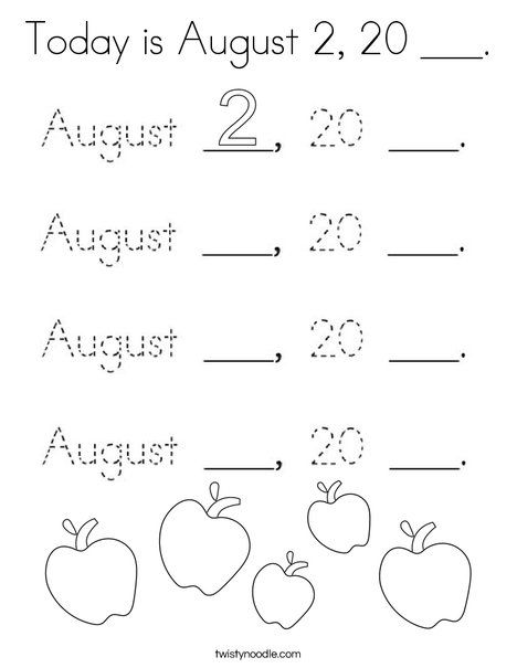 Today is August 2, 20 ___ Coloring Page - Twisty Noodle in ...