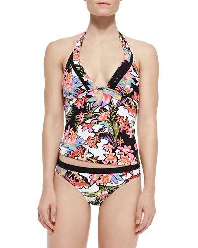 afc02d220f4 -5LFT Nanette Lepore Havana Tropical-Print Zip Rashguard, Tankini Top & Swim  Bottom