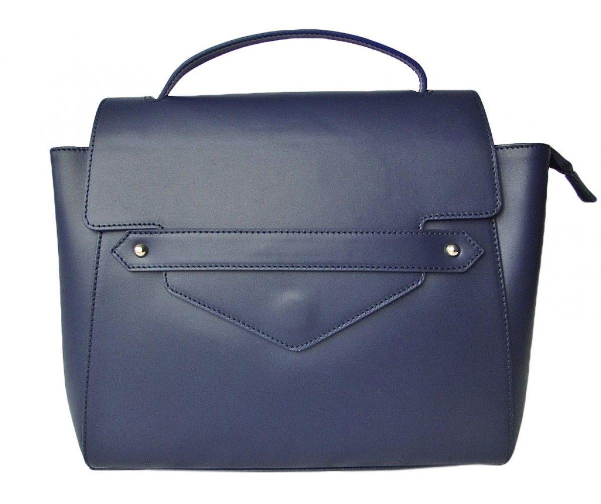 Sac besace en cuir bleu marine BETTY | Saheline.com