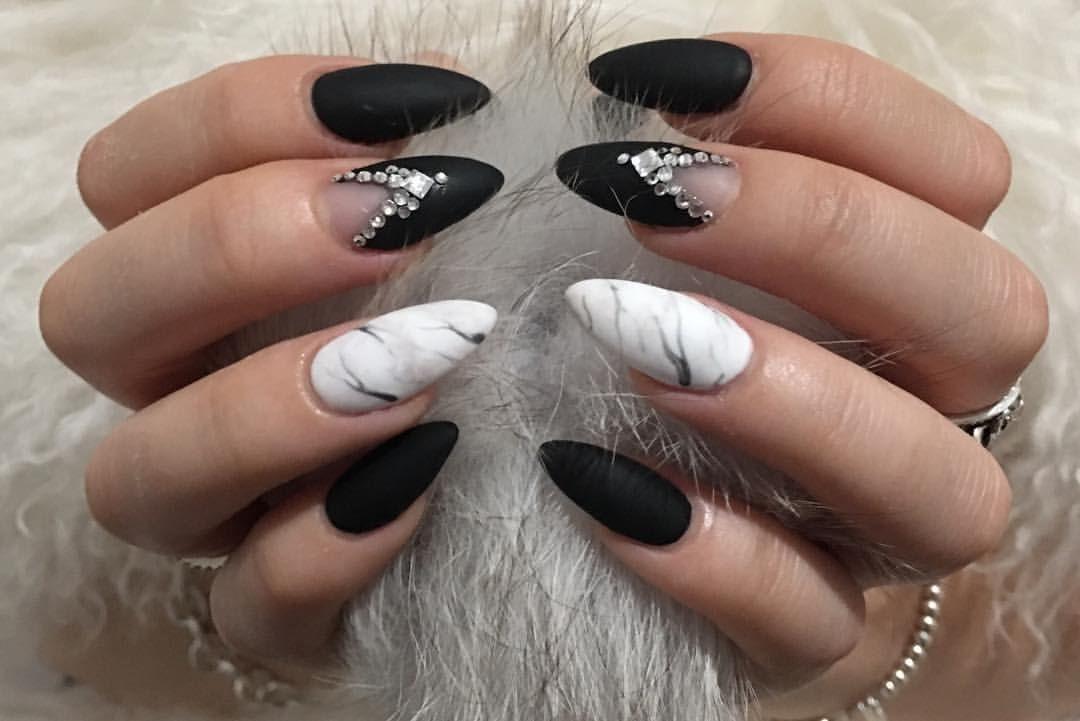 black matte almond marble nails
