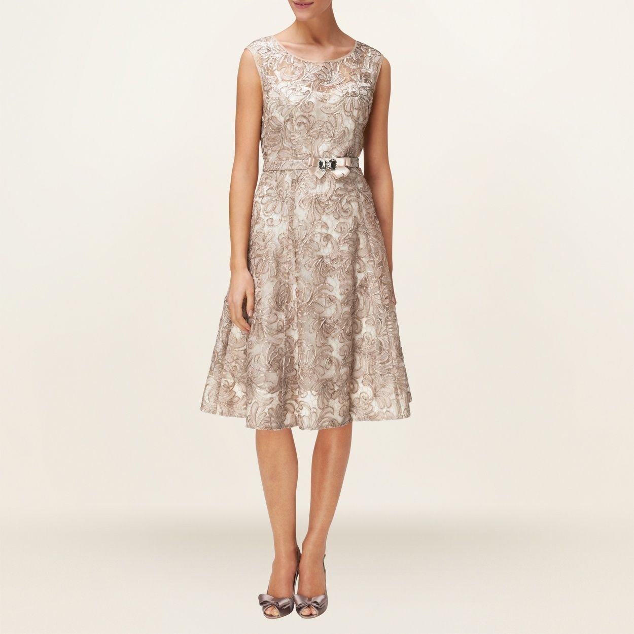 Phase Eight Oyster Antoinette Fit And Flare Dress- at Debenhams.com ...