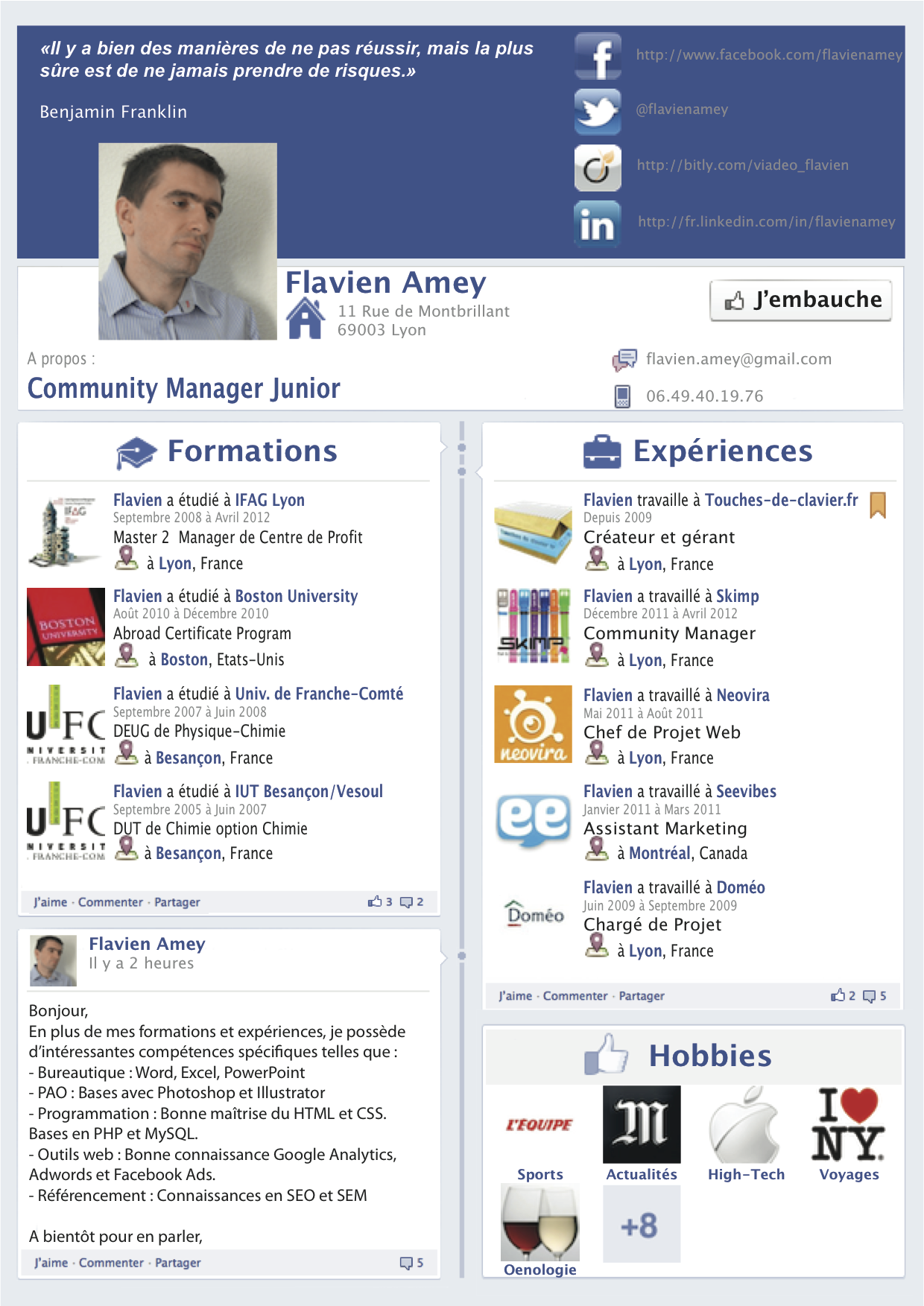 Pin By Ylle Ylle On Marketing Community Manager Social Media Facebook Timeline Job Cv