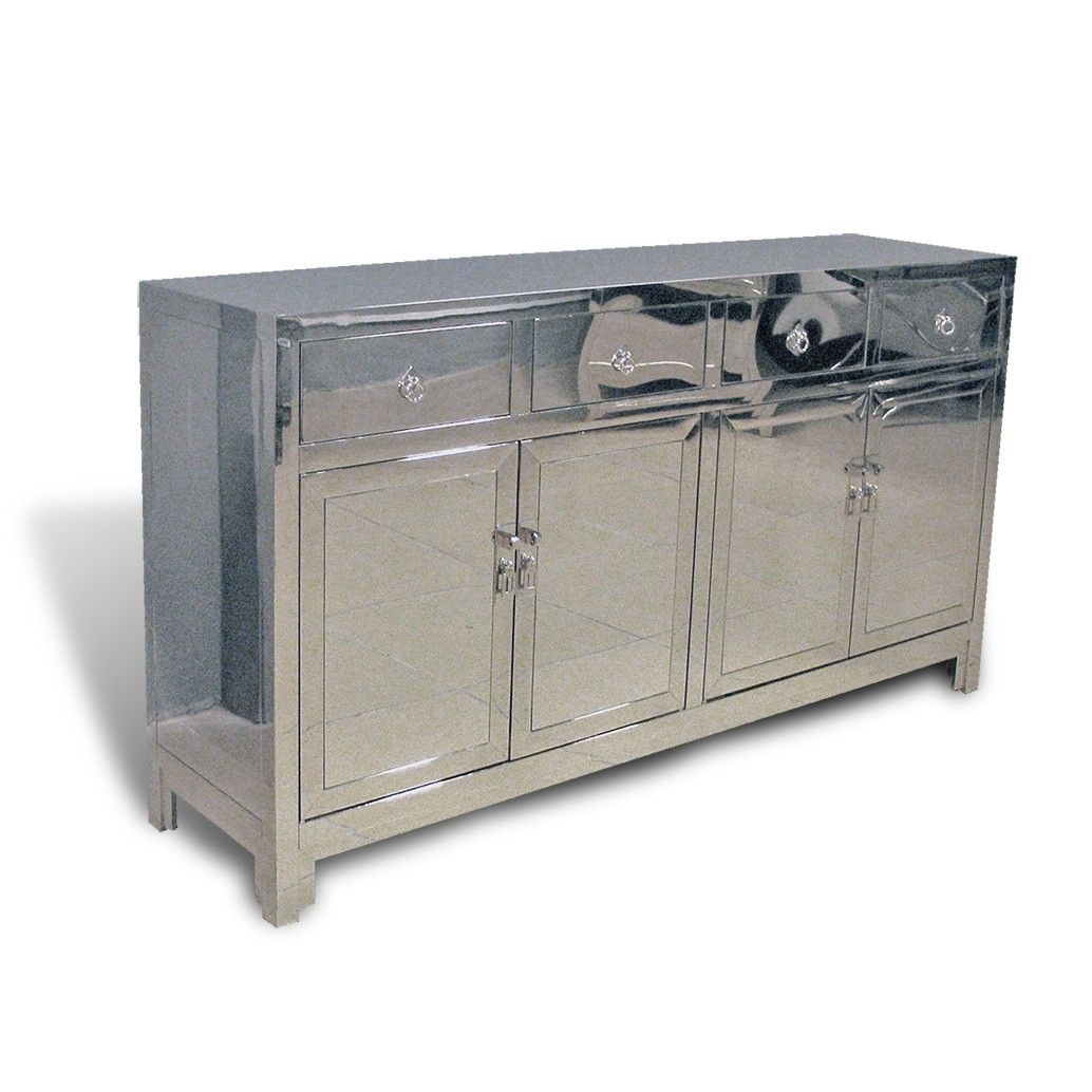Hand Worked Stainless Steel Buffet Cabinet Based On Classical Chinese  Design. Matching Stainless Steel Hardware