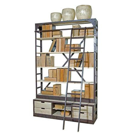 Iron Library Bookcase Ladder Reclaimed Board Shelves At European Trading Co