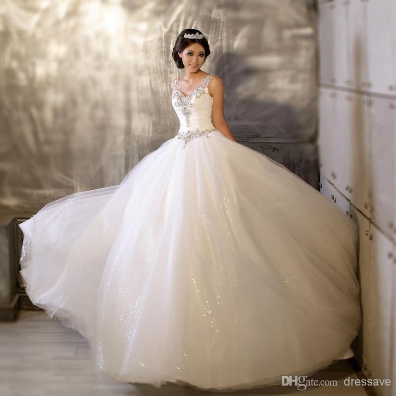 $109-V Neck Ball Gown Sheer Wedding Dresses Crystal