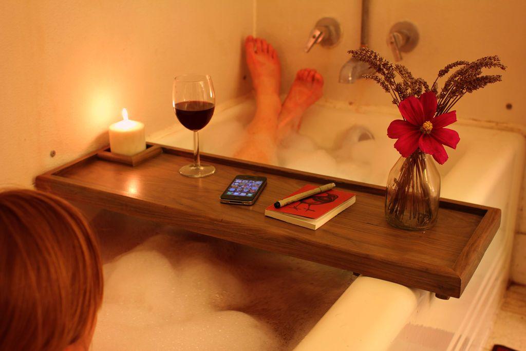 Bathtub Caddy | Bathtub tray, Wooden bathtub and Relaxing bath