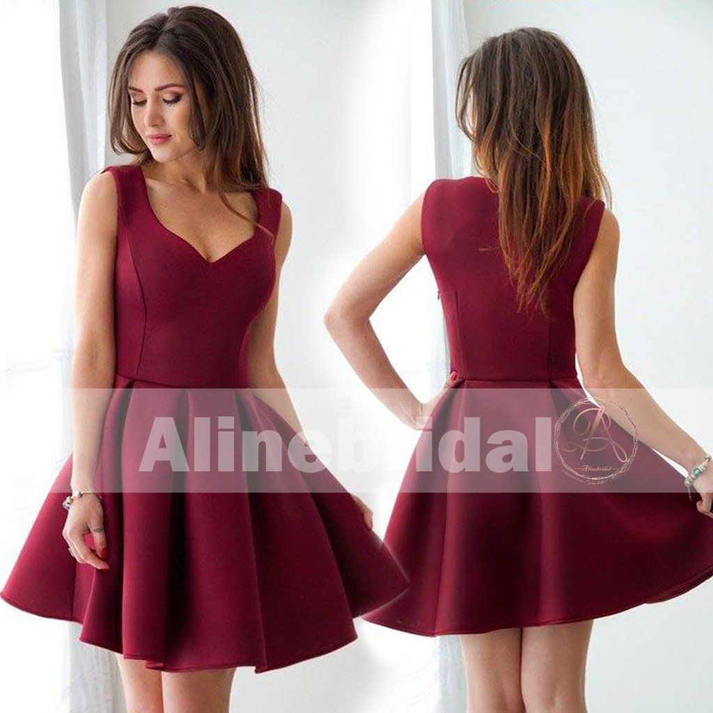 World Of Architecture 16 Simple Elegant And Affordable: Simple Cheap Burgundy Mini Sleeveless Sweet-16 Homecoming