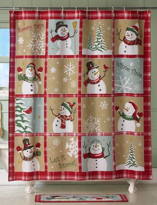 Snow Time Country Snowman Shower Curtain Cortinas baño, Cortinas y