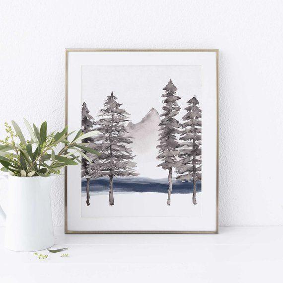 Minimalist Pine Tree: Modern Minimalist Pine Tree Forest Neutral Wall Art