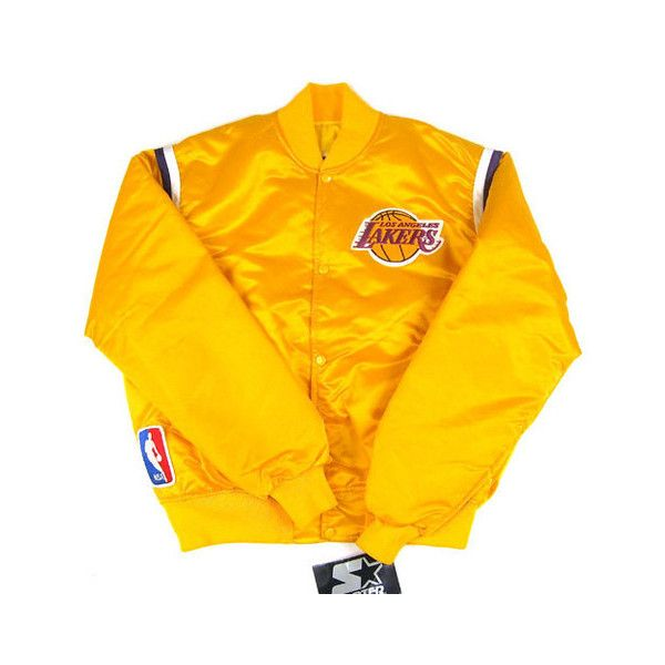 Vintage Los Angeles Lakers Starter Jacket Nwt Featuring Polyvore Women S Fashion Clothing Outerwear Jackets Vintag Nba Jacket Vintage Jacket Orange Jacket