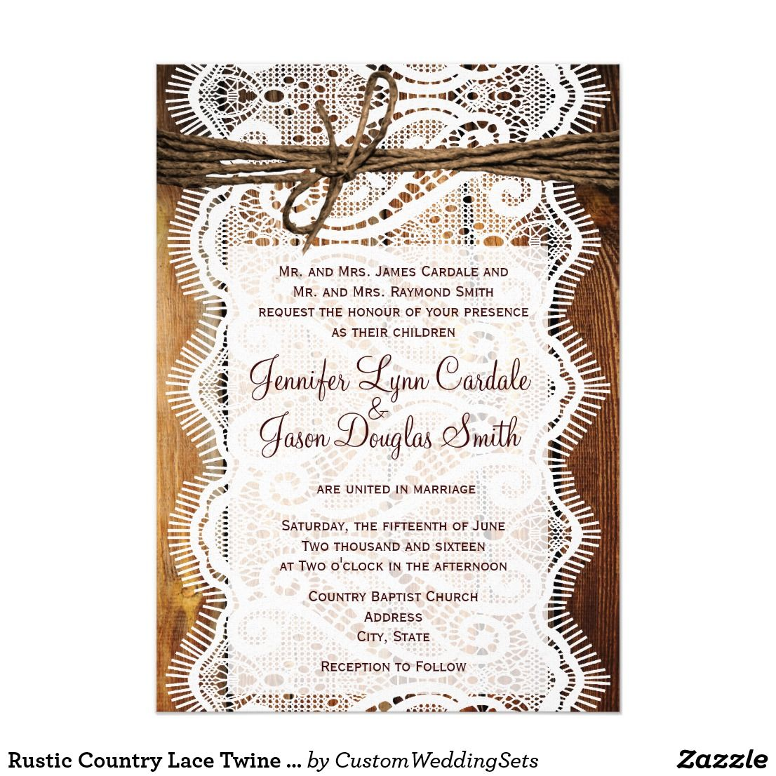 Rustic Country Lace Twine Wood Wedding Invites | Country Wedding ...
