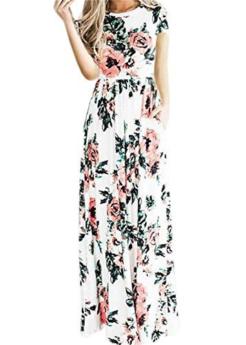 87537f9bb50b Floral Printed Long Dress Women Casual Jewel Neck 3/4 Sleeve Loose Long  Maxi Dress Plus Size 2017 Summer Long Skirt, White 2XL