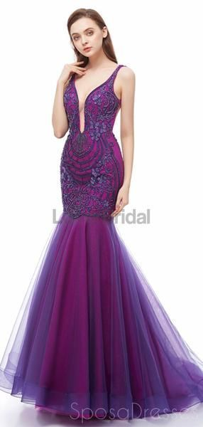 Sexy Backless Purple V Neck Mermaid Evening Prom Dresses, Evening Party Prom Dresses, 12107 - Prom dresses, Mermaid evening dresses, Ball gown wedding dress, Prom party dresses, Mermaid prom dresses, Ball dresses - Sexy Backless Purple V Neck Mermaid Evening Prom Dresses, Evening Party Prom Dresses, 12107 The LongEvening Prom Dressesarefully lined, there are bones in the bodice, chest pad in the bust, lace up back or zipper back are all available, it could be customsize and color, there are no extra cost to do customorder