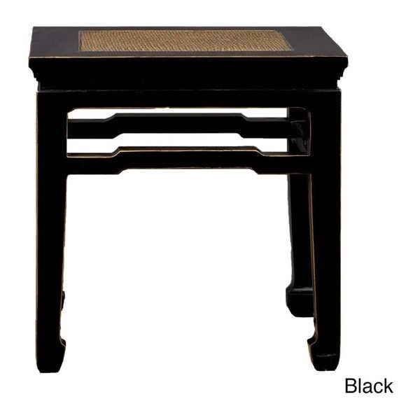 Awesome Antique Revival Chinese Style Rattan Top End Table ($163) ❤ Liked On  Polyvore Featuring