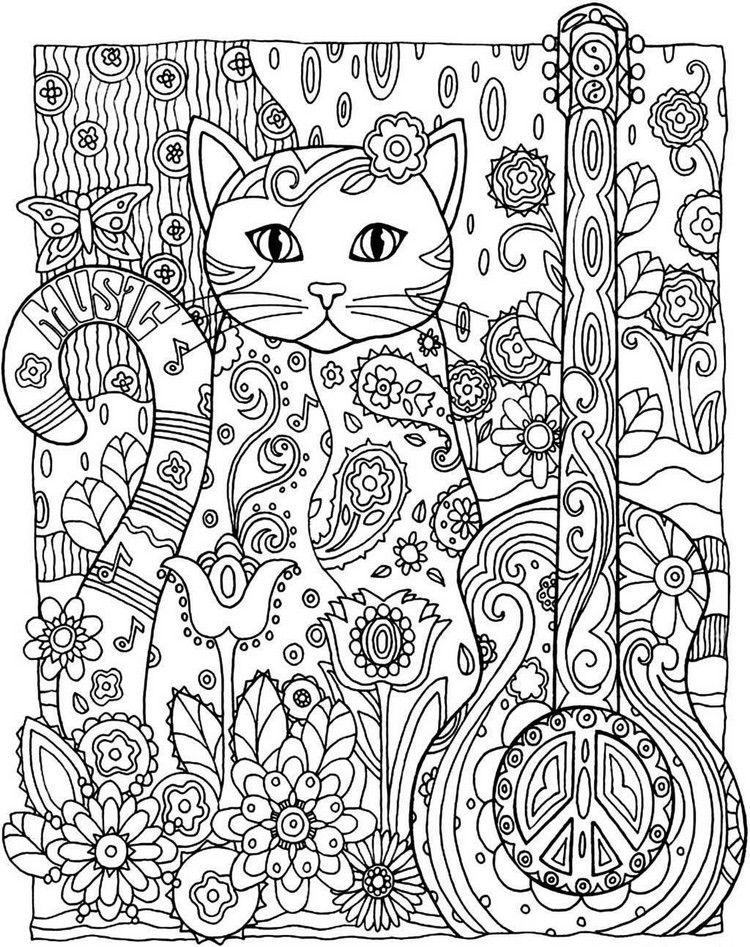 Kreatives Ausmalbild mit Katze und Gitarre | Stained glass ...