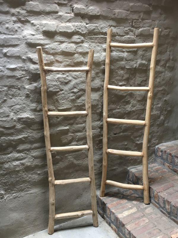 Oud Houten Ladder Laddertje Trap Trapje Rek Rekje Landelijk Brocant Stoer Handdoekenrek Decoratie Hout Oude Houten Ladders Decoratieve Ladders Houten Ladder