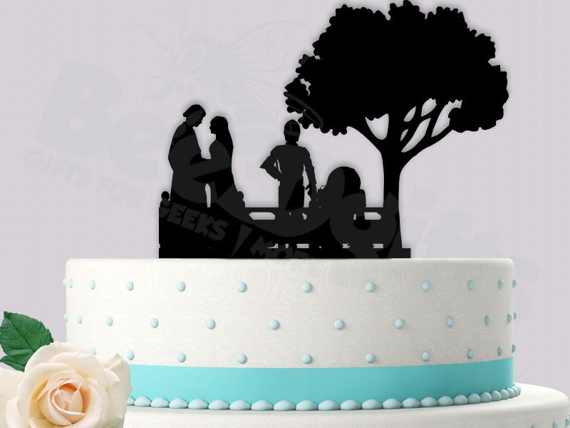 Anakin Skywalker And Padme Amidala With Wedding Scene StarWars Inspired Event Cake Topper