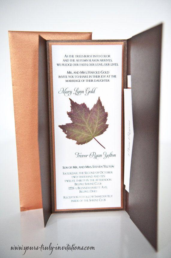 Maple Leaf Autumn Wedding Invitation by yourstrulyinvitation, $100.00